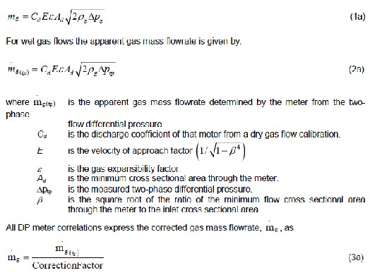 The Dry Gas Flow Equation Across A Differential Device Is Given By